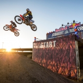 (L-R) Ryan Morais and Ronnie Mac compete at Red Bull Straight Rhythm at Pomona Fairplex in Pomona, California, USA on 21 October 2017.