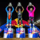 (L-R) Shane McElrath, Marvin Musquin and Gared Steinke celebrate at Red Bull Straight Rhythm at Pomona Fairplex in Pomona, California, USA on 21 October 2017.