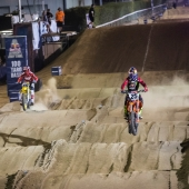 Josh Hansen and Marvin Musquin race during Red Bull Straight Rhythm in Pomona, CA, USA on October 21, 2017.