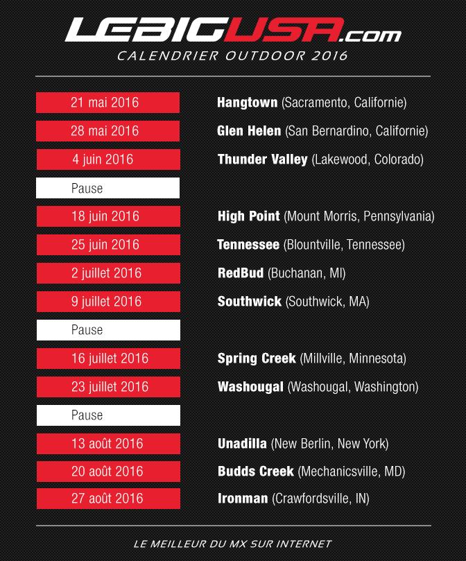 Calendrier Ama Supercross 2019.Le Calendrier Outdoor Us 2016 Lebigusa Actualite Du