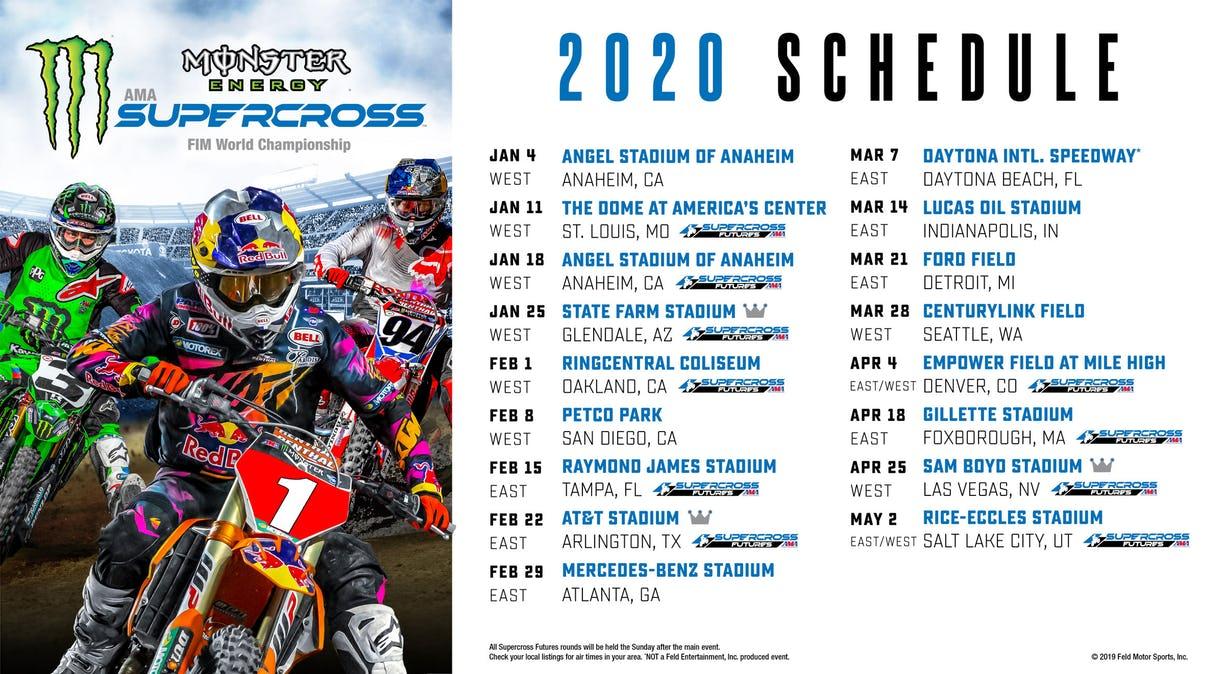 Calendrier Ama Supercross 2019.Le Calendrier Du Sx Us 2020 Lebigusa Actualite Du